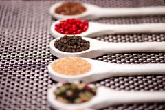 Detail of hot spices, black pepper close-up Royalty Free Stock Images