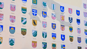 Detail of house with coats of arms of the Latvian cities in Riga Royalty Free Stock Photos