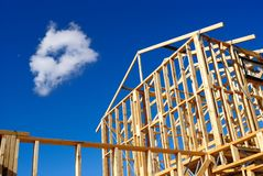 Detail of house frame under construction Royalty Free Stock Photos