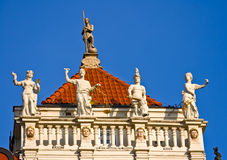 Detail of a house in Gdansk. Statues on a house in Gdansk, Pomerania, Poland Stock Photo
