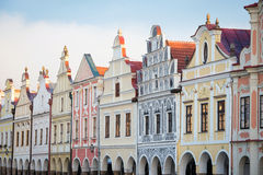 Detail of houses in Telc, Czech Republic Royalty Free Stock Photography