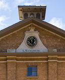 Detail Hyde Park Barracks. Detail of clock and inscription, Hyde Park Barracks tower, Sydney Australia Stock Photo