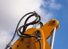 Detail of hydraulic bulldozer piston Stock Photos