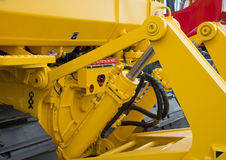 Detail of hydraulic bulldozer piston Stock Photography