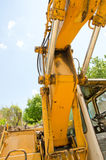Detail of hydraulic bulldozer piston. Excavator arm construction machinery Royalty Free Stock Photo
