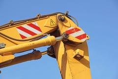 Detail of hydraulic bulldozer piston excavator arm Stock Photography