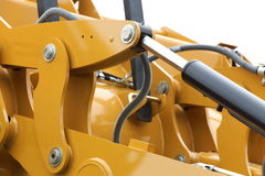 Detail of hydraulic bulldozer white background Royalty Free Stock Photo