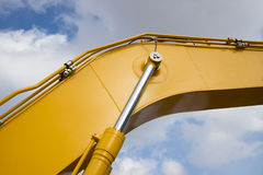 Detail of hydraulic piston excavator arm Royalty Free Stock Images