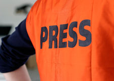 Detail I van het Vest van de Veiligheid van de pers royalty-vrije stock foto's
