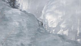 A detail of ice on the walls of a mountain.  stock video footage