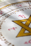 Detail of a illuminated astrological chart stock image