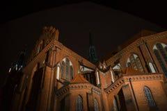 Illuminated Bialystok cathedral, night view, Poland. Tourists landmark