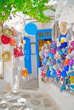 Detail image from a greek touristic shop on Mykonos island, Gree Stock Photos