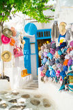 Detail image from a greek touristic shop on Mykonos island. Greece Royalty Free Stock Photography