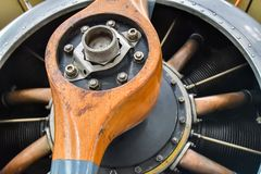 A detail image showing the properller of a British WWI aeroplane. The radial engine cylinders can be seen out of focus behind the propeller Royalty Free Stock Images