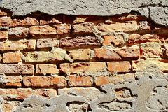 Weathered Brick Wall. Detail image of a weathered red brick wall royalty free stock photo
