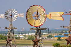 Detail image of windmills painted tan and red Stock Photo