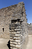 Detail of a Inca house in Machu Picchu. Royalty Free Stock Images