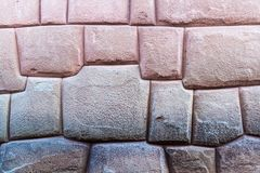 Detail of Inca`s perfect stonework. Wall of former palace of Inca Roca in Cuzco, Peru stock photo