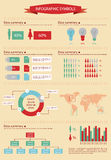 Detail info graphic with human figurines. World Map and Business Graphics data summary Royalty Free Stock Photos