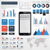Detail infographic vectorillustratie Wereldkaart en Informatiegrafiek met touchscreen mobiele telefoon Stock Fotografie