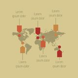 Detail infographic World Map and Information Stock Images