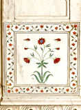 Detail, inlaid flowers on marble column, Red Fort Stock Image