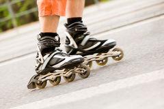 Detail of inline skates in motion Stock Photography