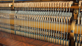 Detail of the inner workings of an antique piano Stock Photography