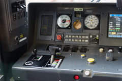 Detail interior of Japan train controller car dashboard speedometer Stock Photos