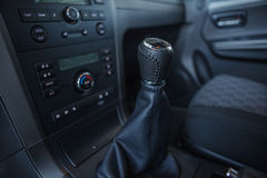 Detail interior of modern auto. Gear shift in car. Royalty Free Stock Images