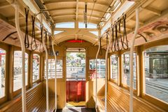 Detail of the interior of one of the tram cars cable car of San Francisco, California, USA royalty free stock photography