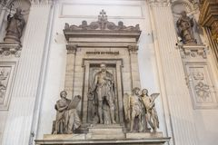 Detail of the roman catholic church interior. Detail of the interior of the Roman catholic church with marble sculptures Stock Photography