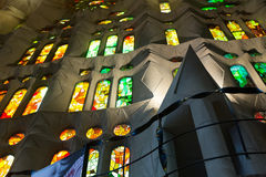 Detail of interior of Sagrada Familia Stock Photo