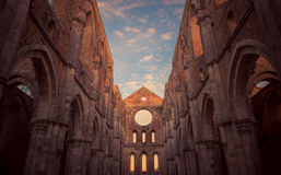 Detail of the interior of San Galgano Abbey, Tuscany Stock Images