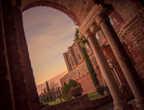 Detail of the interior of San Galgano Abbey, Tuscany. Interior of medieval San Galgano Abbey at the sunset, Tuscany, Italy Stock Photos