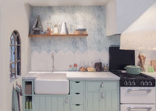 Detail of interior of spring kitchen Stock Image