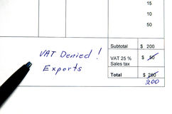 Incorrect invoice, VAT denied Stock Images