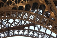 Detail of the ironwork of the Eiffel Tower in Paris, France Royalty Free Stock Photo