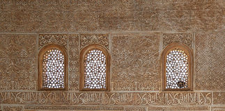 Detail of Islamic (Moorish) tilework at the Alhambra, Granada, Spain.  Stock Photo