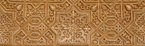 Detail of Islamic (Moorish) tilework at the Alhambra, Granada, Spain Royalty Free Stock Images