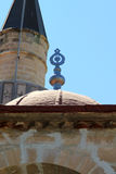 Detail of Islamic symbol on old mosques on Island of Kos in Greece. Detail of decorative symbol on dome of ancient Ottoman Turkish mosque on Island of Kos in Royalty Free Stock Photo