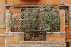 Detail of italian balcony in Rome. Classic roman balcony and ornament Royalty Free Stock Photos