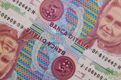 Detail of Italian Lira money Royalty Free Stock Photography