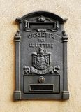Detail of an italian old metal mailbox stock photos
