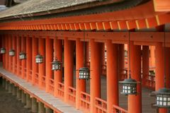 Detail of the Itsukushima Shrine, Miyajima stock images