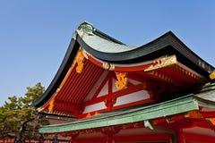 Detail of Japanese shrine roof. Fushimi Inari Taisha shrine in Kyoto, Japan. Famous shinto shrine stock photos