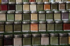 Detail spice jars Royalty Free Stock Photos