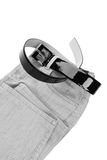 Detail of jeans and belt. Detail of jeans and patent leather belt Stock Photos