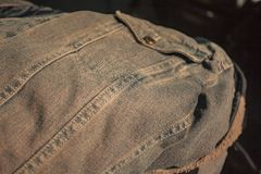 Detail of the Jeans Stitch. Near the pocket royalty free stock photography